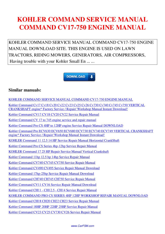 kohler command pro 25 manual