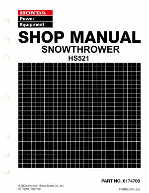 honda hs622 snowblower service manual