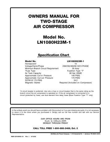 mastercraft air compressor owners manual