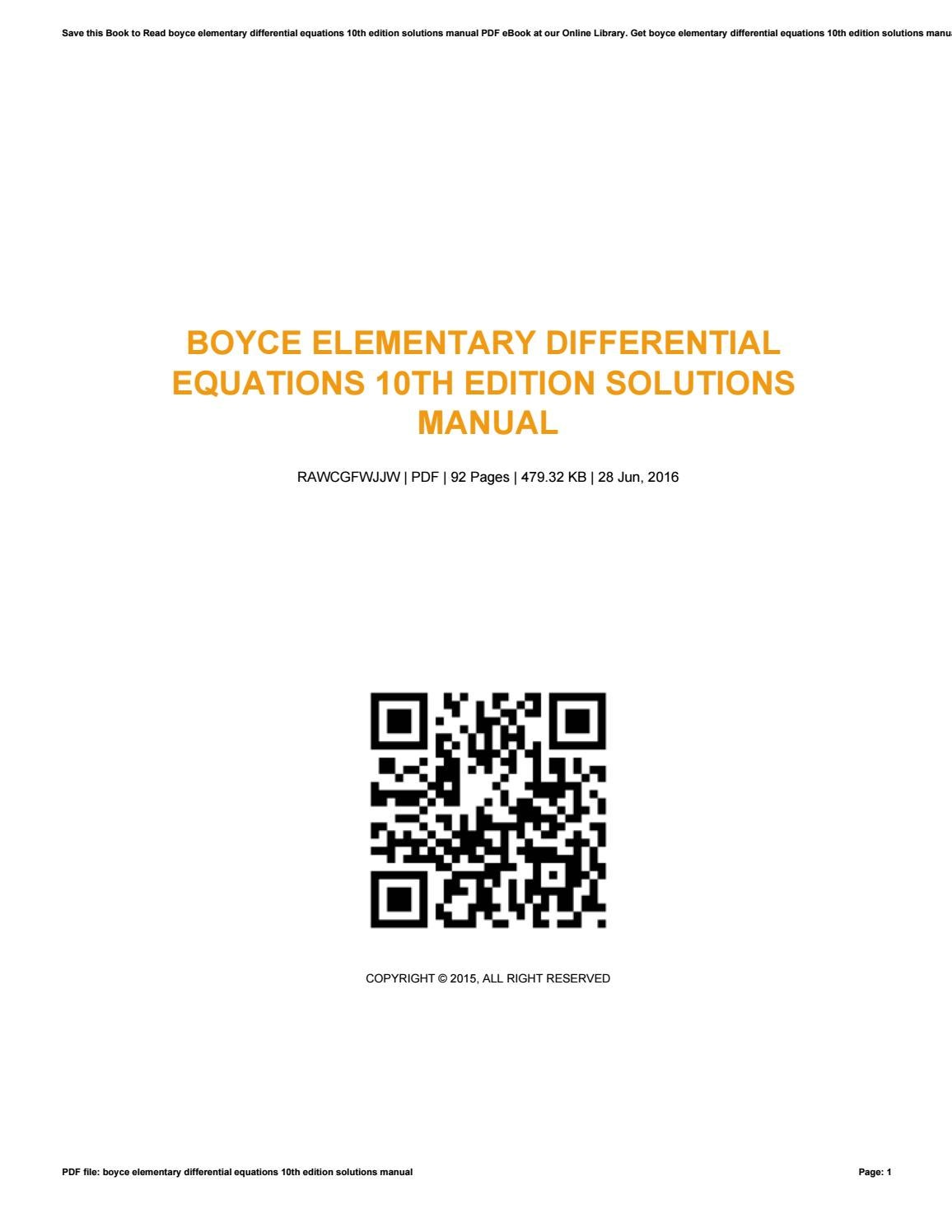 elementary differential equations boyce 10th edition solutions manual pdf