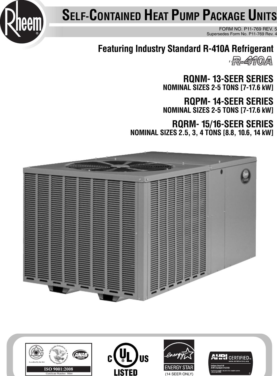 rheem heat pump manual pdf