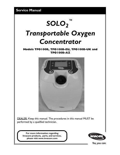 invacare oxygen concentrator service manual