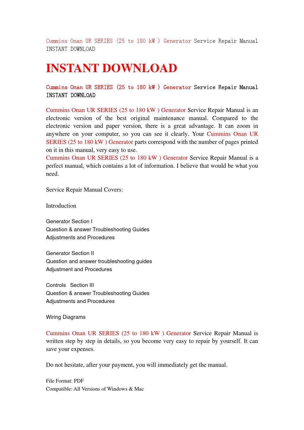 onan generator repair manual download