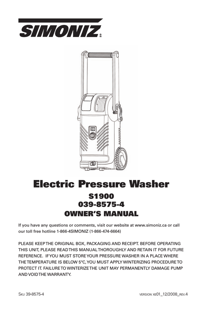 simoniz 1900 pressure washer manual